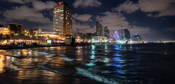 Tel Aviv coast night