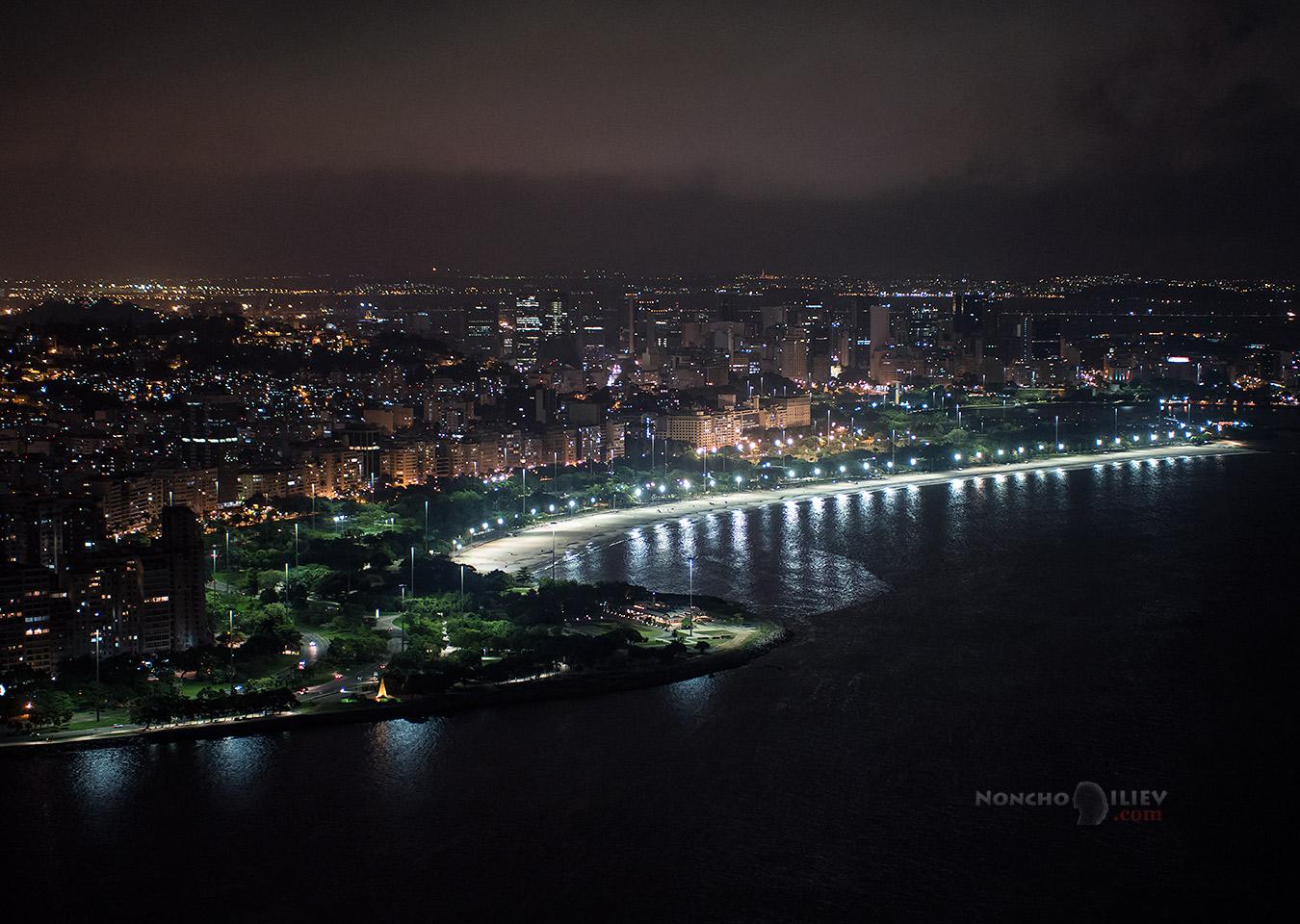 Нощ над централната част на Рио от Sugarloaf